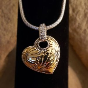 "Two tone heart pendant with 16"" rope chain + 3"""